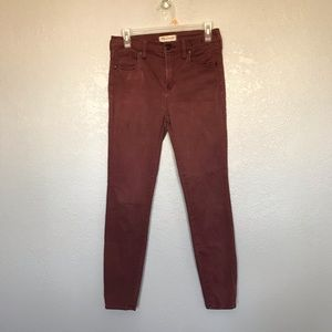 Madewell High Riser Skinny Faded Wine Jeans sz 27